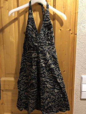 H&M Vestido de cuello Halter marrón-negro-negro