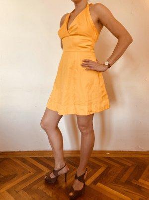 Vestido de cuello Halter naranja dorado-amarillo