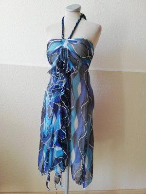 Neckholder Kleid Neckholderkleid Chiffon Chiffonkleid Gr. S 36 neu Sommerkleid blau