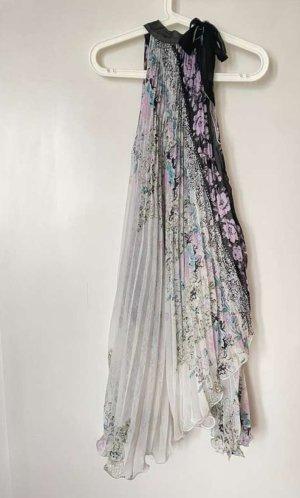 Sukienka z dekoltem typu halter biały-jasny fiolet Wiskoza