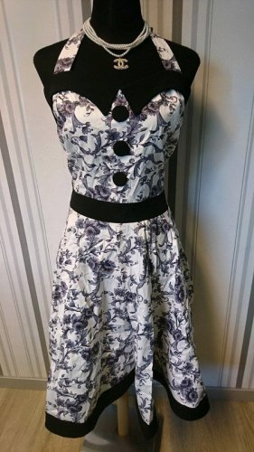 Belsira Sukienka z dekoltem typu halter czarny-biały