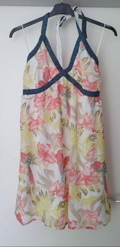 Livre Sukienka z dekoltem typu halter jasnożółty-szary niebieski