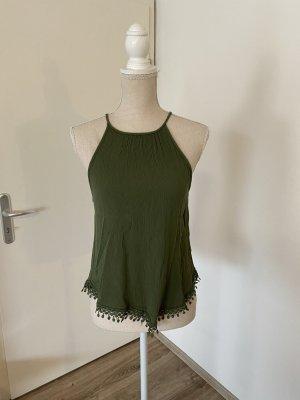H&M Top estilo halter verde bosque-verde