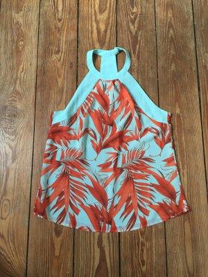 H&M Top z dekoltem typu halter pomarańczowy-jasnoniebieski