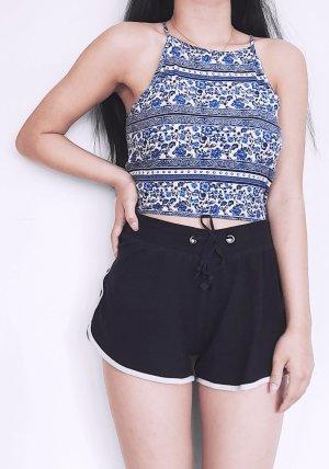 H&M Top estilo halter blanco-azul