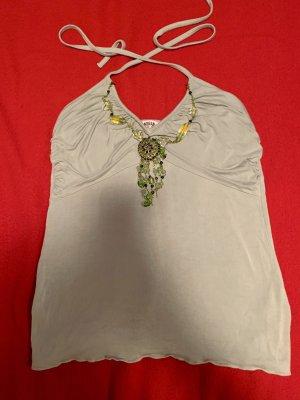 Neckholder-Top Viskose  Gr. S mit Perlenkette von Morgan