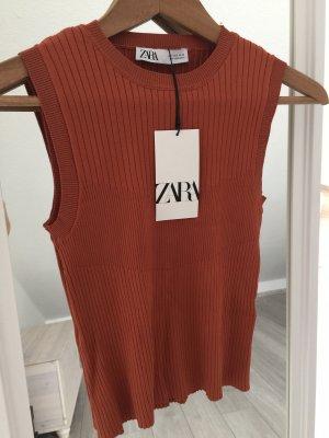 Zara Top z dekoltem typu halter rudy-brązowo-czerwony