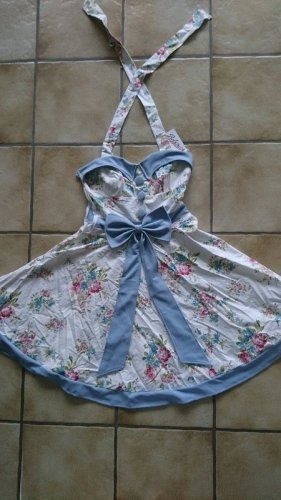 Robe dos-nu blanc-bleu tissu mixte
