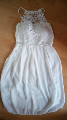 Unbekannte Marke Sukienka z dekoltem typu halter biały