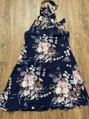 Sukienka z dekoltem typu halter ciemnoniebieski