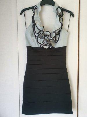 Tally Weijl Sukienka z dekoltem typu halter czarny-srebrny Poliester