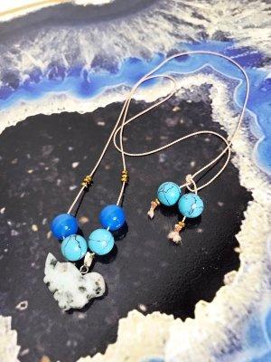 Collar de perlas azul-azul celeste