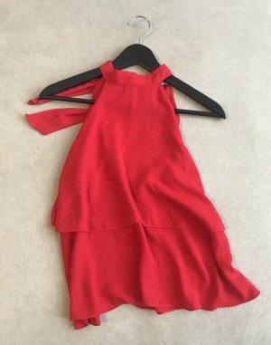 Trf by Zara Top estilo halter rojo tejido mezclado