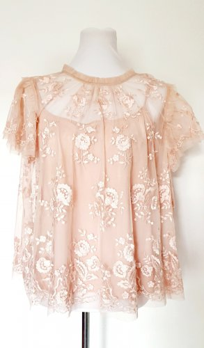 Needle & Thread Shirt Bluse Stickereien Spitze rose Gr 42