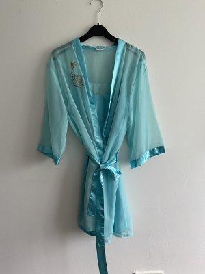 Badjas lichtblauw-neon blauw