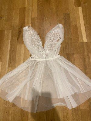 H&M Robe Babydoll blanc cassé polyamide