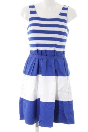 Neiman-Marcus Minikleid weiß-blau Streifenmuster