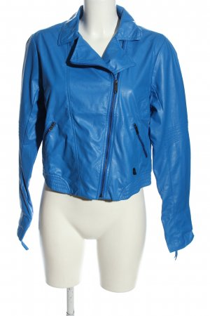 NEO Label Giacca in ecopelle blu stile casual