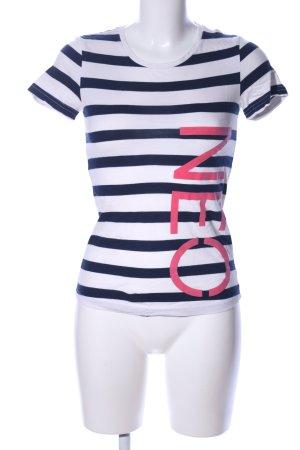 NEO Label T-Shirt blau-weiß Allover-Druck Casual-Look