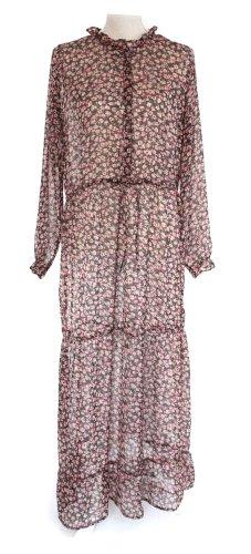 neo noir Kleid Maxikleid 38 M schwarz silber pink rosa geblümt