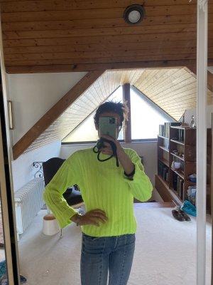 Neon gelber Pulli Rollkragen XS