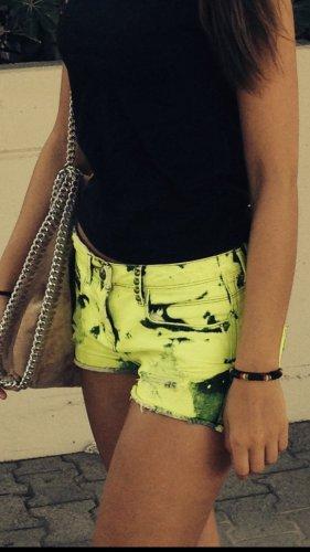 Bershka Short en jean jaune fluo