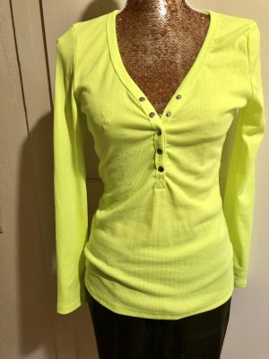 Zanzea Camisa acanalada amarillo neón