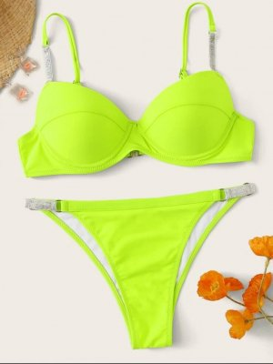 Neon Lime Top Und Bikini Mit Träger