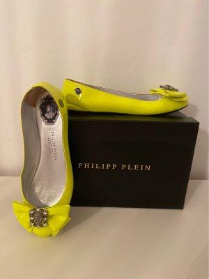 Philipp Plein Ballerina di pelle verniciata giallo lime-giallo neon