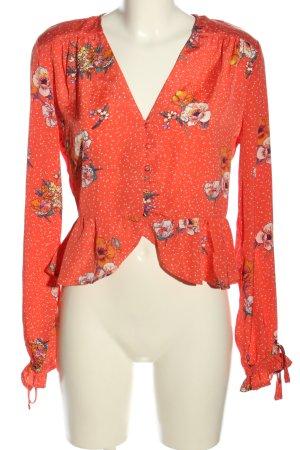 Neon Rose Rüschen-Bluse rot-wollweiß Blumenmuster Casual-Look