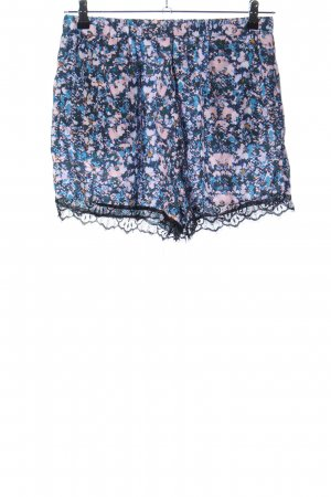 Neon Rose Shorts blau-pink Blumenmuster Casual-Look