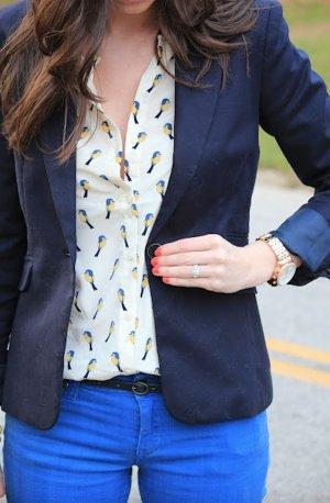 Neonblaue Five-Pocket Röhren-Jeans