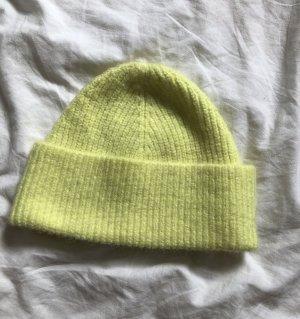 H&M Chapeau en tissu jaune fluo