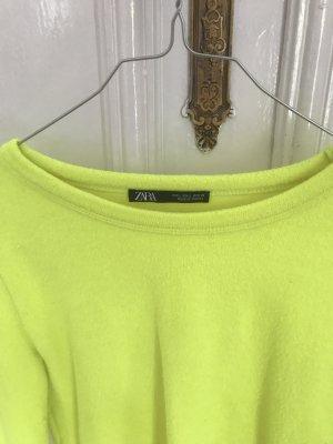 Neongelber cropped Pullover von Zara