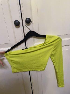 SheIn Haut avec une épaule dénudée jaune fluo