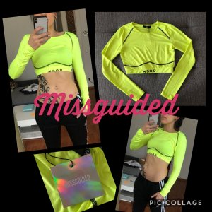 Neongelbes Missguided Cropped Sport Top XS/S