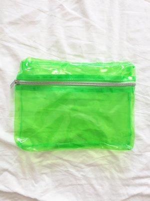 Neongrüne transparente Kosmetiktasche / Etui / Kosmetikbeutel / Tasche