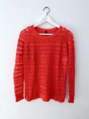 Benetton Szydełkowany sweter czerwony Wełna