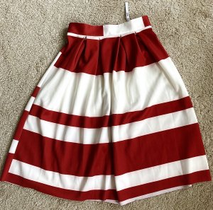 ASOS DESIGN Midi-rok wit-rood Polyester