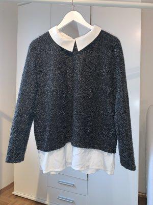 ner grau melierter Pullover mit weißem Kragen in Größe 46