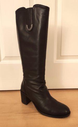 NeroGiardini sportliche italienische Damen-Stiefel schwarzes Leder Gr. 40