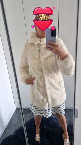 Veste de fourrure blanc-crème