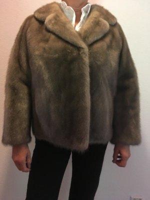 Heavy Pea Coat light brown-sand brown fur