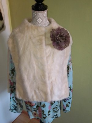Manteau de fourrure crème-blanc cassé mohair