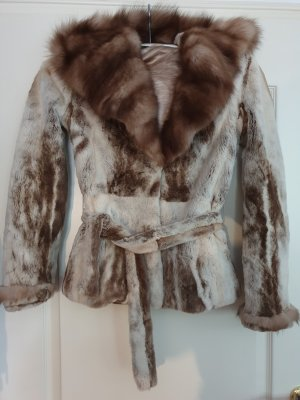 Giacca in pelliccia bronzo-bianco sporco