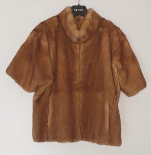 Veste de fourrure marron clair-cognac fourrure