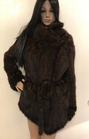 Futrzany płaszcz brązowy-jasnobrązowy Futro