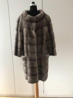 Rosenberg & Lenhart Manteau de fourrure gris fourrure