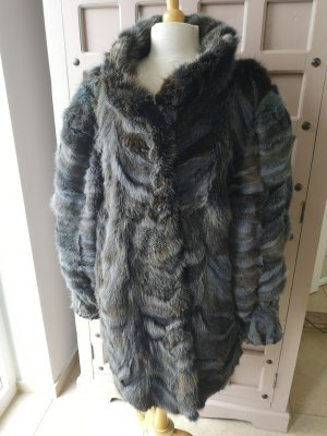 Giacca in pelliccia marrone-blu