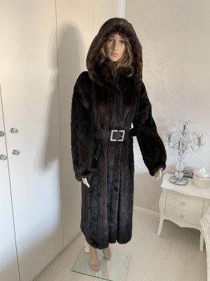 Kürschner Arbeit Futrzany płaszcz czarno-brązowy